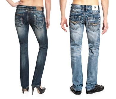 Jeans mit weißen Nähten im Jeans Shop