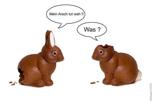 Witzige Ostergrüße mit Osterhasen aus Schokolade für Freunde und Bekannte