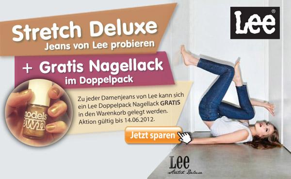 Die neue Stretch Deluxe Lee Jeans probieren und den Gratis Models Own Nagellack dazu bestellen