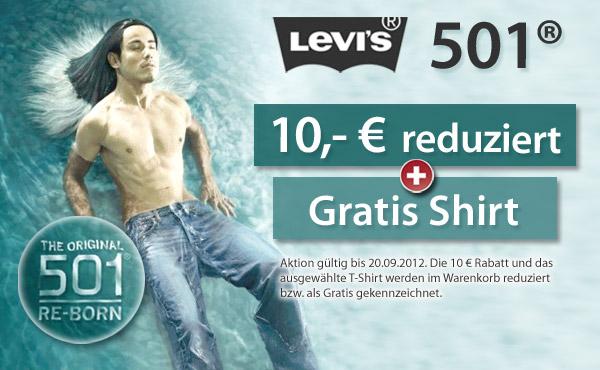 Modische Levis 501 Jeans jetzt 10 Euro reduziert und ein Gratis Levis T-Shirt dazu