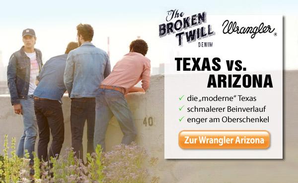 Die Wrangler Jeans Arizona mit dem einzigartigen Wrangler Broken Twill