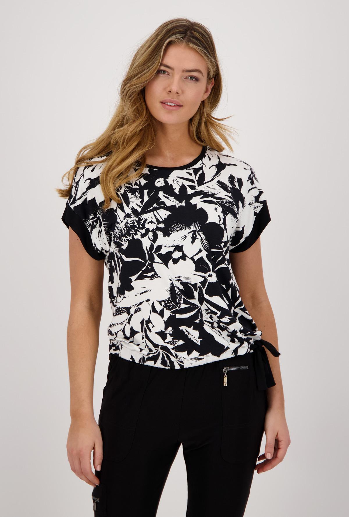 Monari Shirt Summer Time Flower Black and White