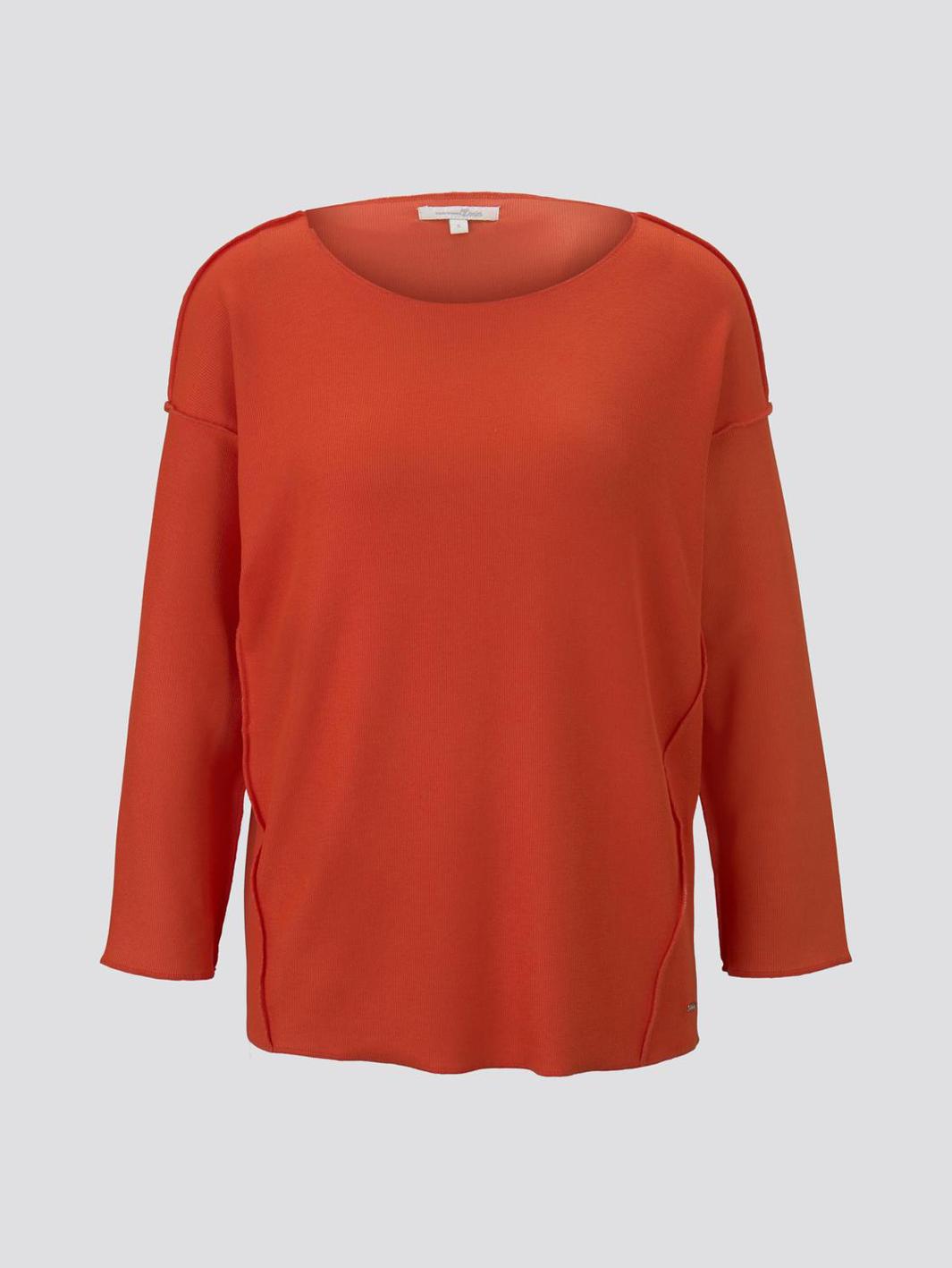 Tom Tailor geripptes Oversized Shirt red