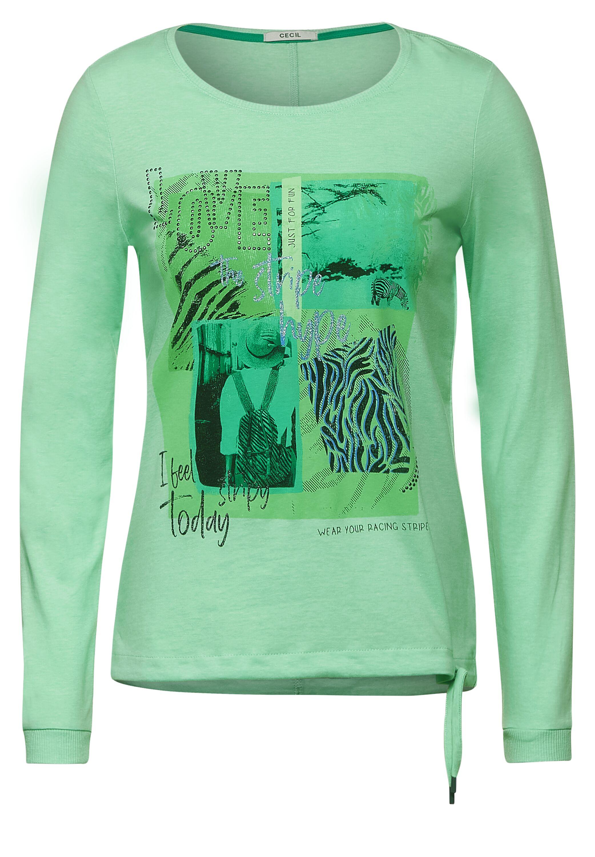 Cecil Langarmshirt Stripe Hype grün