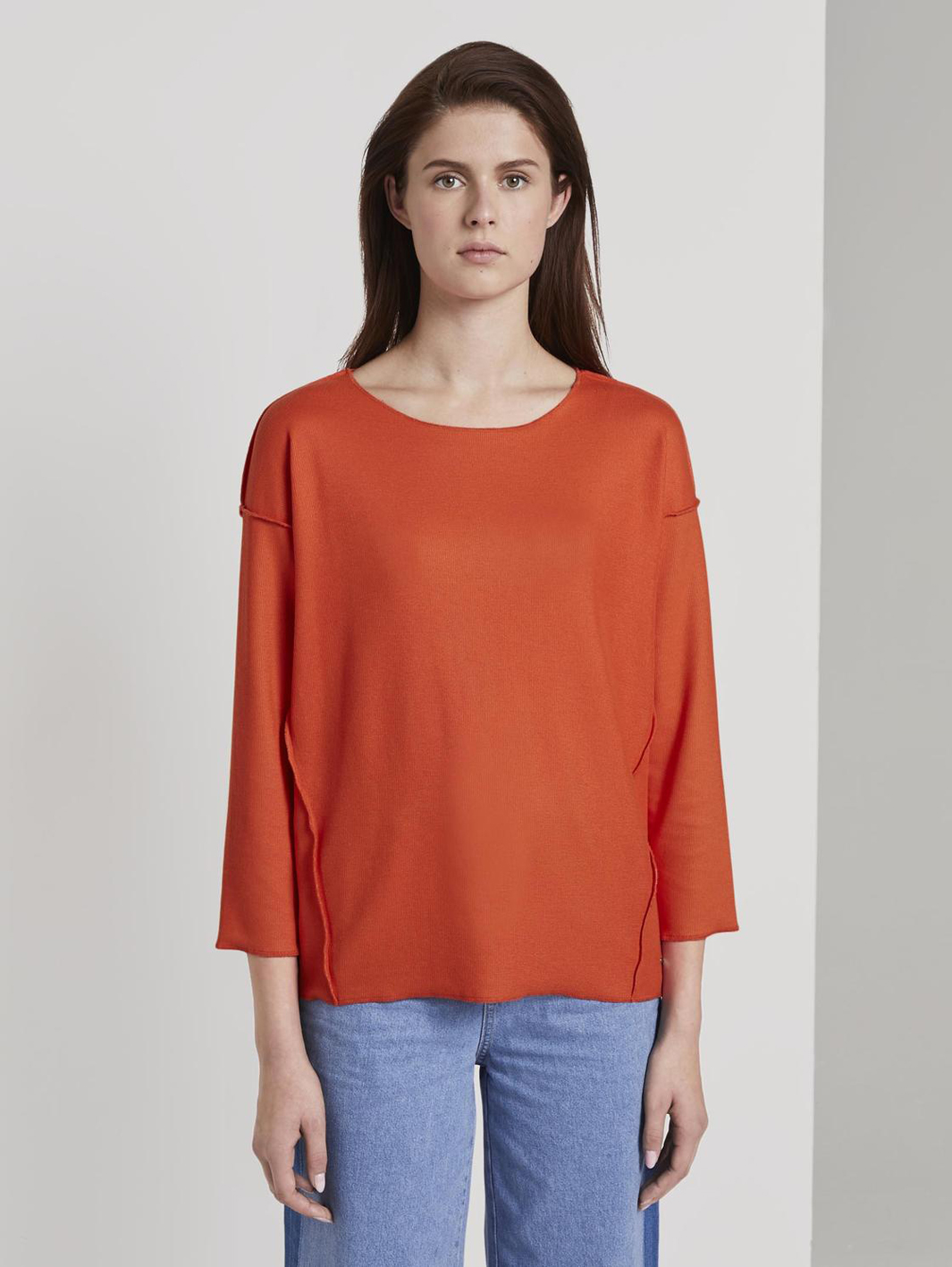 Tom Tailor geripptes Oversized Shirt red